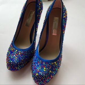 INC blue sparkle jewel heels